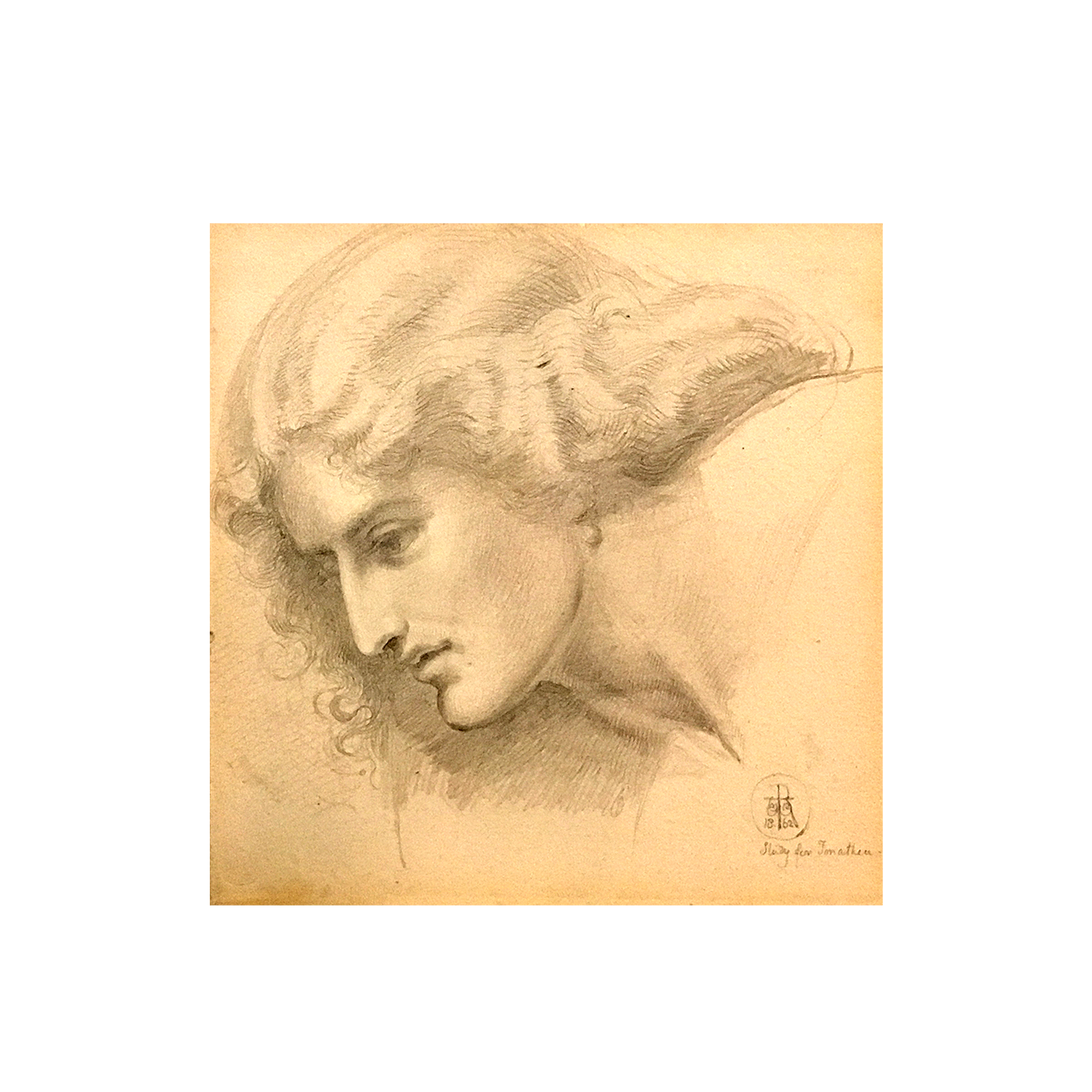 "Sir William Blake Richmond (1842-1921) Pre-Raphaelite drawing of "" Study of young Woman"" "" circa 1862"